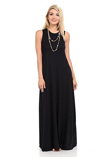 omen's Sleeveless Maxi Dress with Pockets Small Black ()