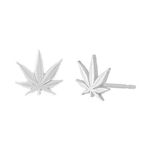 Boma Jewlery Sterling Silver Marijuana Pot Weed Cannabis Leaf Stud Earrings -