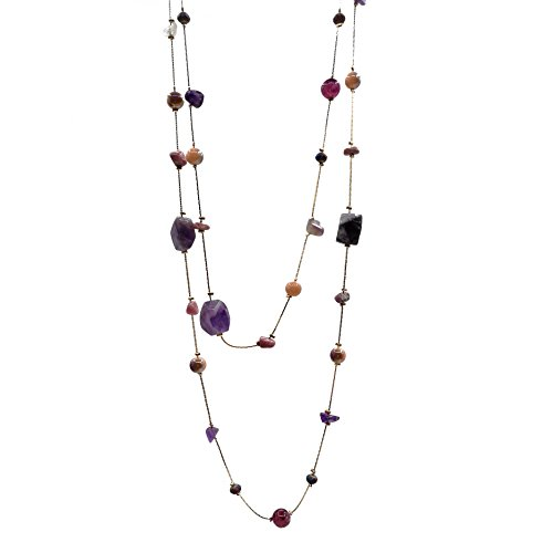 Karen accessories Long Size Irregular Natural Stone Necklace Hand Knotted Charm Bohemian Style Beaded Strand Necklace (Purple stone) (Handmade Beaded Necklace)