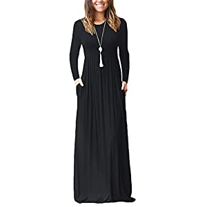 PCEAIIH Women Long Sleeve Loose Plain Maxi Pockets Dresses Casual Long Dresses