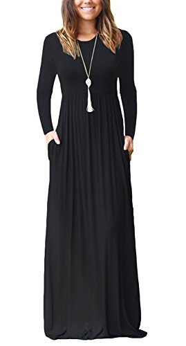 GRECERELLE Women's Round Neck Long Sleeves A-line Casual Maxi Dresses with Pockets Black-2XL