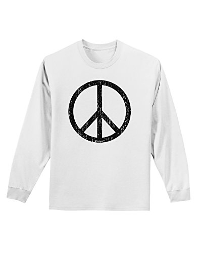 TooLoud Peace Sign Symbol - Distressed Adult Long Sleeve Shirt - White - XL (70s Outfits For Men)