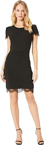 Betsey Johnson Women's Scuba Crepe Dress w/Lace Trim Black 4