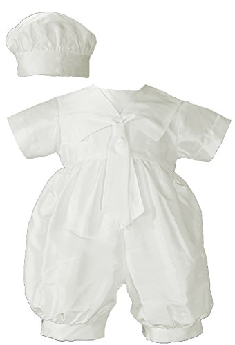 Christening Sailor Suit - Boys Dupioni Christening Baptism One Piece with Sailor Collar and Hat, 06 Month