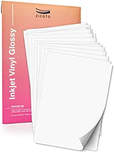 Premium Printable Vinyl Sticker Paper for Your Inkjet Printer - 15 Glossy  White Waterproof Decal Paper Sheets - Dries Quickly and Holds Ink