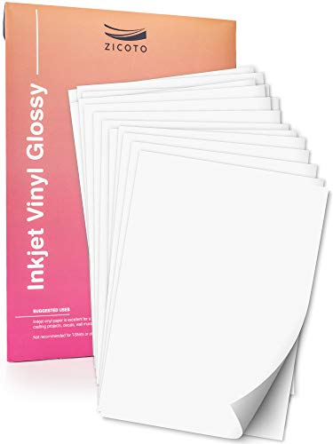 Vinyl Inkjet Labels - Premium Printable Vinyl Sticker Paper for Your Inkjet Printer - 15 Glossy White Waterproof Sheets - Dries Quickly and Holds Ink Beautifully