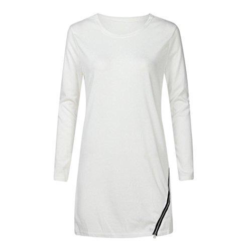 Gillberry Casual Long Tops Women Long Sleeve O Neck Side Split Zipper Pullovers Blouse (White, S)