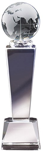 Customizable Optical Crystal Globe Column Trophy, includes Personalization Globe Trophy Award