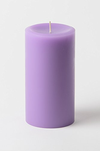 (Lavender Scented 3 by 6 inch Pillar Candles (Set of 3) Aromatherapy Indoor & Outdoor use, Perfect for Relaxation, Dripless and Smokeless - Made in USA)