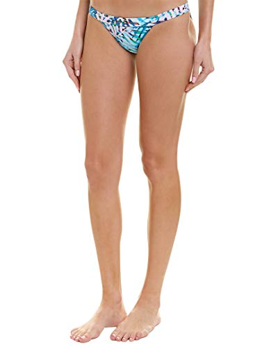 PilyQ Women's Palm Print Thin Banded Bikini Bottom Full Swimsuit, Palmas, M