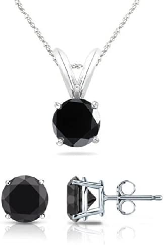 0.09 ctw PARIKHS Round Cut Black Diamond Solitaire Pendant /& Diamond Stud Set AAA Quality in White Gold