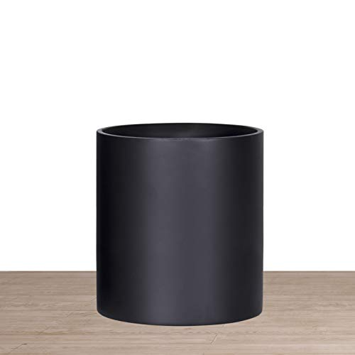 Indoor 8 Inches Round Modern Planter Pot - Matte Black - Easy Grow Fiberglass Resin Planter with Drainage Hole and Plug - by D'vine Dev