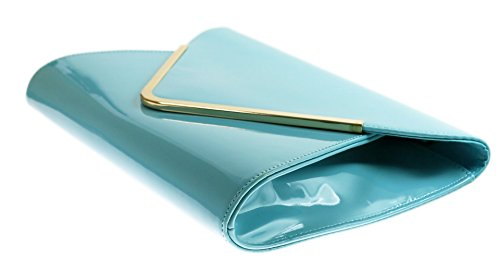 H&G Ladies New Patent Envelope Clutch  Evening  Prom  Formal Bag - Mint Green  Turquoise Light Blue