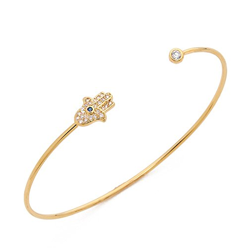 CHUYUN Turkey Blue Evil Eye Bangle and Hamsa Hand Jewelry for Women Bracelet Bangles Cuff (Gold Plated)
