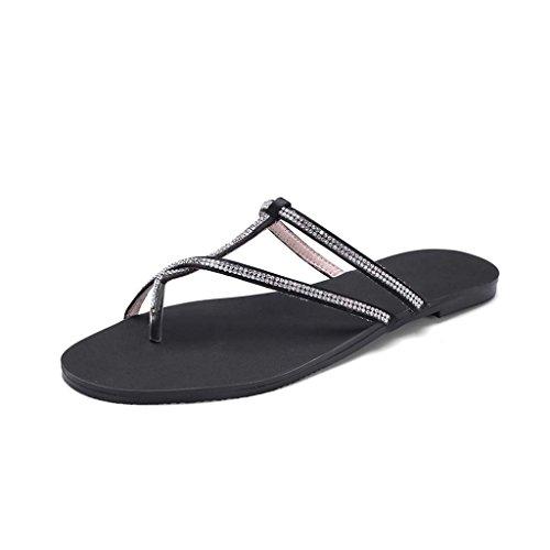 36 Dimensioni Sandals Donna colore Nero Per Punta Temperament Outer Simple Jianxin Sandali Piatta E Summer Dritta Ciabatte Persons TaSq4