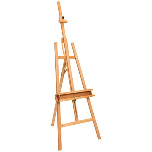 Marble Field High Large and Sturdy Tilted Wooden Easel, Floor Easel Beech, Natural (Tabletop Floor Marble)