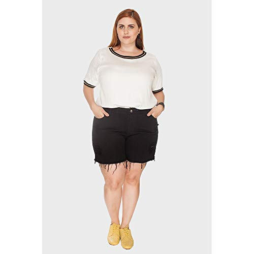 Shorts Destroyed Plus Size Preto-50