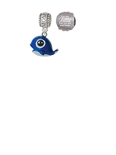 Resin Blue Baby Whale Mom Charm Bead with You Are More Loved Bead (Set of (Baby Whale Charm)