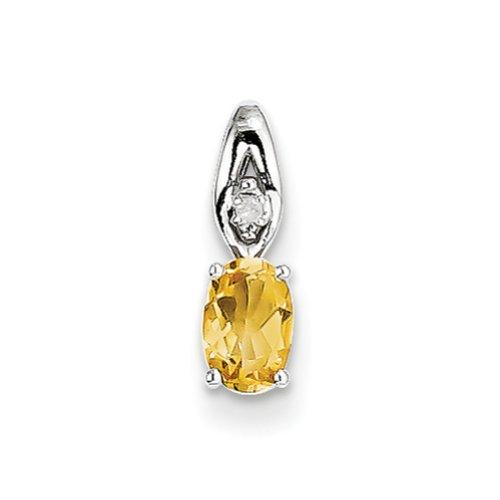14k White Gold Genuine Citrine Diamond pendant, Pendants for Necklace, Women Jewelry