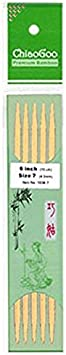 ChiaoGoo Double Point 5-inch Bamboo Natural Knitting Needle; Size US 1 13cm 2.25mm 1015-1