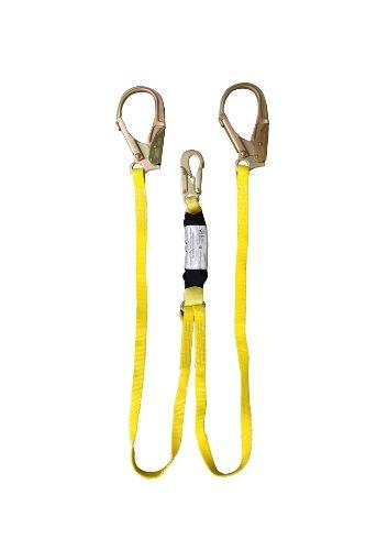 Elk River 27296 Zorber Nylon Energy Absorbing Lanyard with Twin Leg, Snaphook and Rebar Hook Each Leg, 6' Length x 1