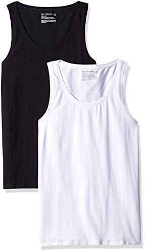 Pact Women's Stretch-Fit Tank Top, black/white, Medium