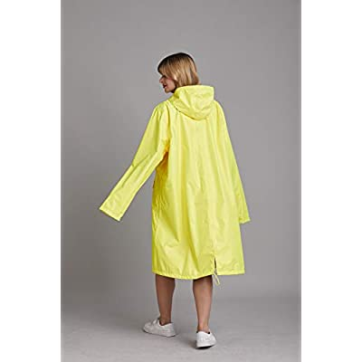 Freesmily Women Long Raincoat Waterproof Rain Jacket with Hood Zipper and Pockets Outdoors: Clothing