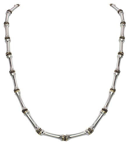 Canias Collection Single Row Gold and Silver Necklace with Extender 16