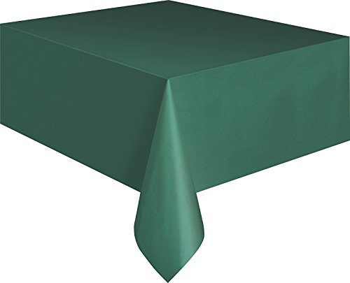 Creative Converting Touch of Color Plastic Table Cover, 54 by 108-Inch, Hunter Green