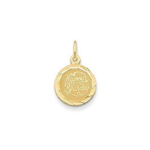 FB Jewels 14K Yellow Gold Happy Birthday Disc Charm