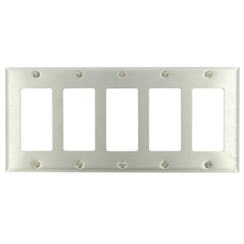 Leviton 84423-40 5-Gang Decora Wallplate, Standard Size, With Screws Bagged, Device Mount, Stainless Steel Sky Blue