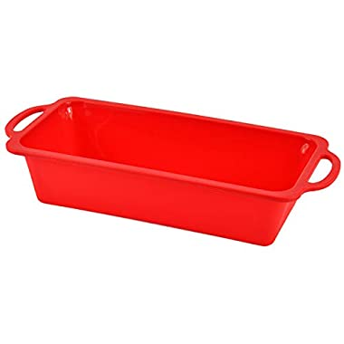 Sturdy Handle Bread Pan - Nonstick European Silicone Loaf Pan - Patented 1 Pound Meatloaf Baking Pans - Dishwasher Safe Bakeware (vs Aluminized Steel)