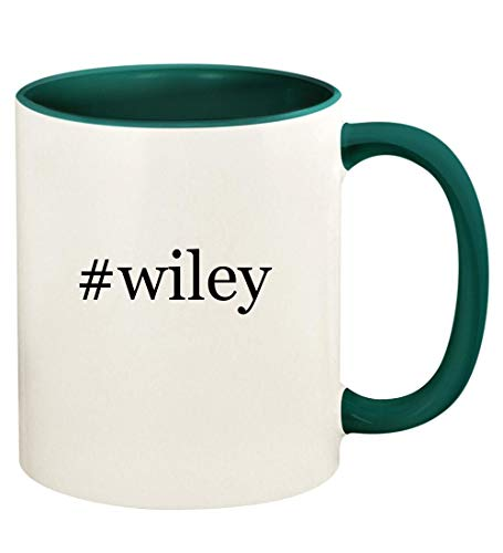 #wiley - 11oz Hashtag Ceramic Colored Handle and Inside Coffee Mug Cup, Green