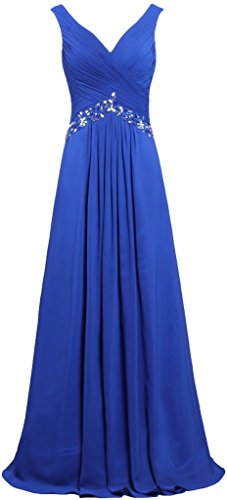 (ANTS Women's Formal V Neck Sleeveless Long Evening Prom Dresses Gowns Size 16 US Royal Blue)