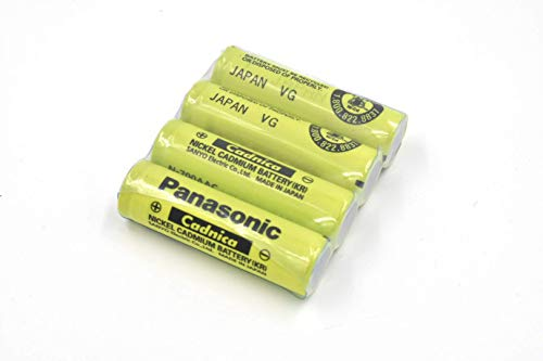 Combo: 4 Pcs - Panasonic / Sanyo NiCd AA Flat Top Battery (no tabs) - for shavers, razors, ()