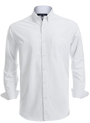 Double Pump Mens Button Down Shirts 100% Cotton Long Sleeve Shirts Regular Fit (SL12A,L) Off White