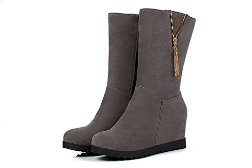 US 5 High Flatform Womens Heel Boots BalaMasa ABL09689 6 Gray Zipper M B Inside Heighten Urethane a1AZnq