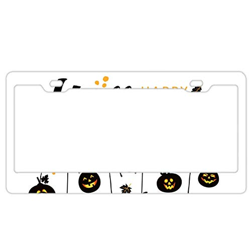 YEX Abstract Halloween happy4 License Plate Frame Car Licence Plate Covers Auto Tag Holder 6