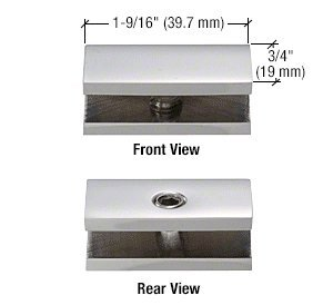 CRL Chrome No-Drill Fixed Panel Glass Clamp for 1/4