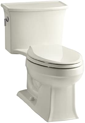 Kohler K-3639-96 Archer Class Five Elongated One-Piece Toilet, Less Supply, Biscuit