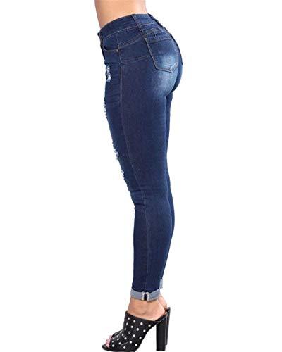 Con Novio Estiramiento Bolsillo Botón Desgarrado Las De Mujeres Casuales Mezclilla Múltiples Pitillo Battercake Dunkelblau Pantalones Destruido fw7q0FR