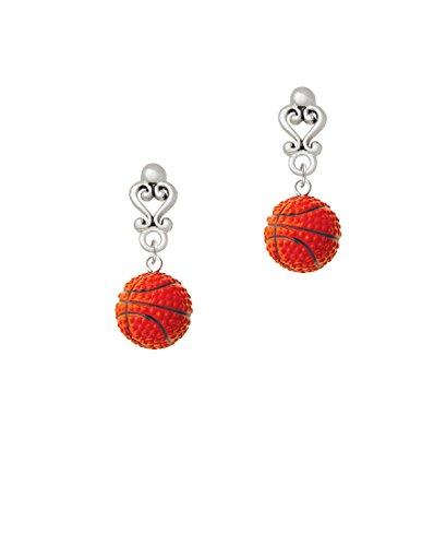 Resin Basketball - Filigree Heart Earrings