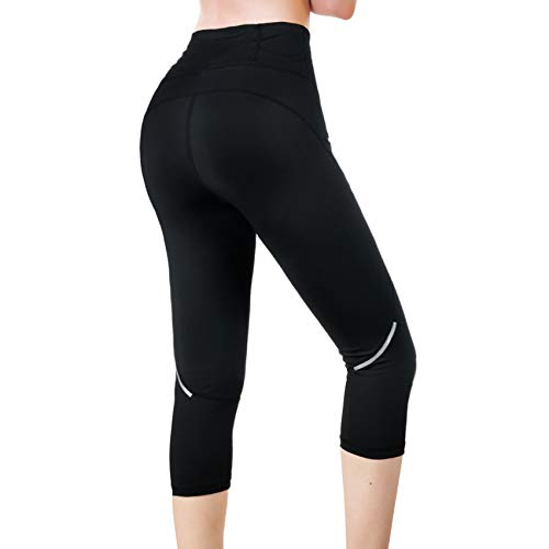 Rolewpy Yoga Capri Workout Leggings for Women High Waist Tummy Control, Running Pants with Pocket for Summer Activewear(Black, X-Large)