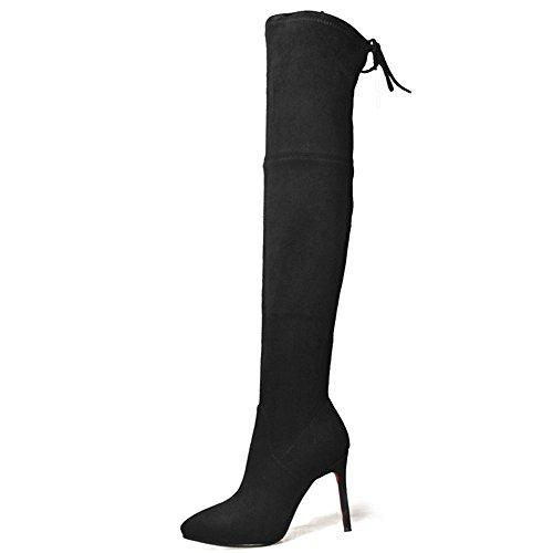 Nine Seven Suede Leather Womens Pointy Toe Stiletto Heel Elegant Handmade Dressy Over The Knee Boots Black 1TnMtJhx73