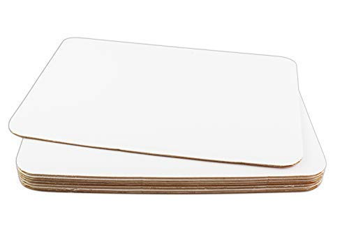 Chefible Durable White Rectangle 1/4 Size Cake Boards - Set of 8