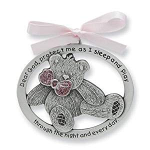 - Pretty Teddy Bear Crib Medal for Baby with Organza Bag Pewter Finish - Christening Shower Gift Baptism Keepsake - Infant - Newborn (Pink - Girl)