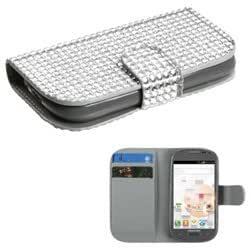 MYBAT Silver Diamonds Book-Style MyJacket Wallet (with Card Slot)(830) compatible with Samsung T599 (Galaxy Exhibit)