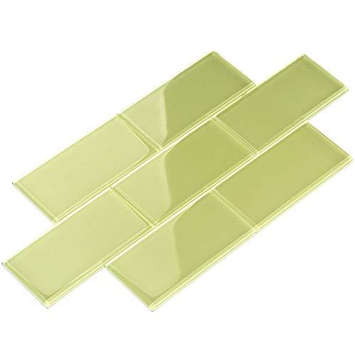 Light Green Glass Tile - Giorbello Glass Subway Backsplash Tile, 3 x 6, Light Olive, Case of 44 Tiles
