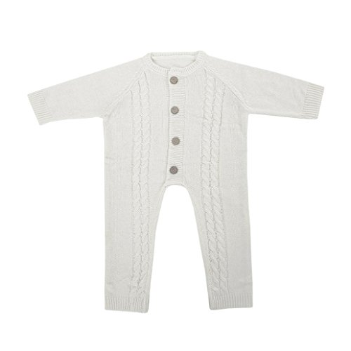 Warm Long Sleeve Button up Coveralls Sleep N Play Knitted Sweater (0-6 Months, White) ()
