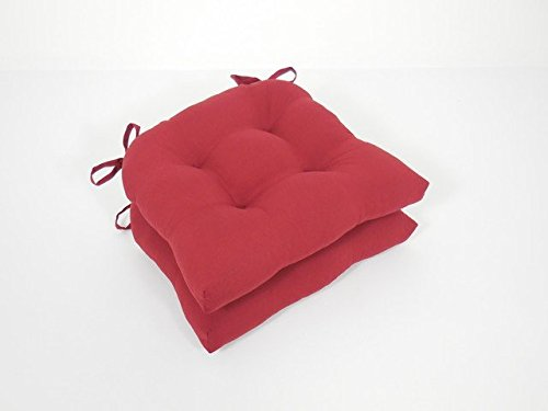 Essentials 19-63078BRD Micro Fiber Chair Pads with Tie Backs44; Barn Red - Set of (Brd Set)